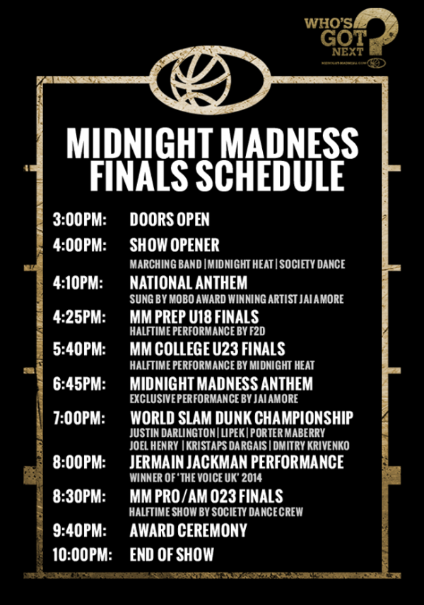 Midnight Madness Finals Schedule